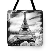 Eiffel Tower In Black And White Design IIi Tote Bag