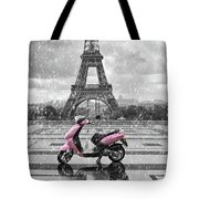 Eiffel Tower In The Rain With Pink Scooter Of Paris. Black And W Tote Bag
