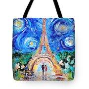 Eiffel Tower Starry Night Romance Tote Bag