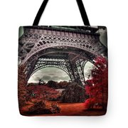 Eiffel Tower Surreal Photo Red Trees Paris France Tote Bag