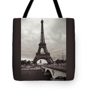 Eiffel Tower With Bridge In Sepia Tote Bag