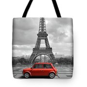 Eiffel Tower With Car. Black And White Photo With Red Element. Tote Bag