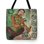Eight Of Pentacles Illustrated Tote Bag