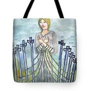 Eight Of Swords Illustrated Tote Bag