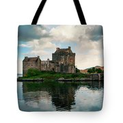 Eilean Donan Castle On A Cloudy Day Tote Bag