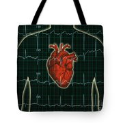 Ekg And Heart Over Torso Tote Bag