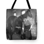 Elderly Blacksmith Shoeing Horse Tote Bag