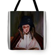Elderly Lady Reading A Book Tote Bag