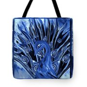 Electric Blues Peacock Tote Bag