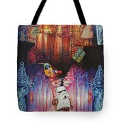 Electric Forest-people Building Houses In The Trees Tote Bag