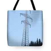 Electric Pylon On Blue Sky Tote Bag