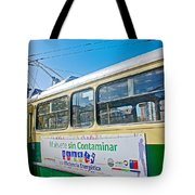 Electric Trolley Took Us To The Port In Valparaiso-chile  Tote Bag