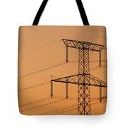 Electricity Pylon At Sunset  Tote Bag