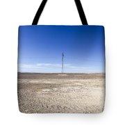 Electricity Pylon In Desert Tote Bag