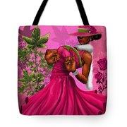 Elegant Pink And Green Tote Bag