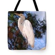 Elegant White Crane Tote Bag