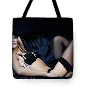 Elegant Young Woman In Black Lingerie Tote Bag