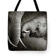 Elephant Affection Tote Bag
