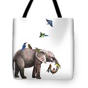 Elephant With Birds Illustration Tote Bag
