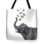 Elephant Blowing Butterflies From His Trunk Tote Bag