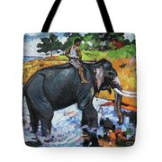 Elephant And Man Tote Bag