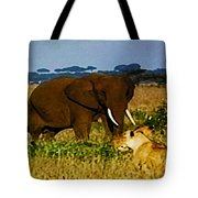 Elephant And The Lions Tote Bag