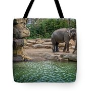 Elephant And Waterfall Tote Bag