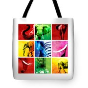 Elephant Animal Decorative Colorful Multiptych 1 - By  Diana Van  Tote Bag