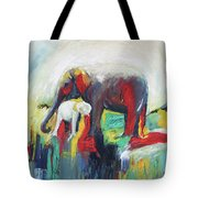 Elephant Baby And Mother Tote Bag