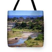 Elephant Crossing In Tarangire Tote Bag