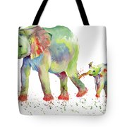 Elephant Family Watercolor  Tote Bag by Melly Terpening