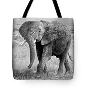 Elephant Happy And Free In Black And White Tote Bag