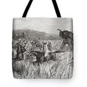 Elephant Hunters In The 19th Century Tote Bag