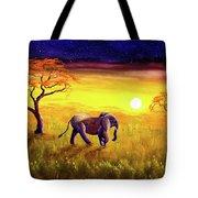 Elephant In Purple Twilight Tote Bag