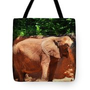 Elephant In Red Clay Tote Bag
