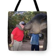 Elephant Kissing Man Holding Bananas Tote Bag