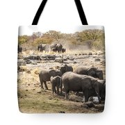 Elephant Watering Hole Tote Bag