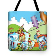 Elephants And Urns On A Hill Tote Bag