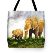 Elephants - Mother And Baby Tote Bag