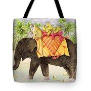 Elephants With Bananas Tote Bag