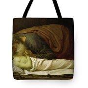 Elisha Raising The Son Of The Shunamite Tote Bag by Frederic Leighton