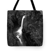 Elk Falls In The Canyon Black And White Tote Bag