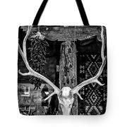 Elk Skull In Black And White Tote Bag