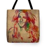 Ellie Goulding Watercolor Portrait Tote Bag