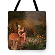 Elven Beautiful Woman With Flute Tote Bag