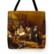 Embarkation Of The Pilgrims Tote Bag