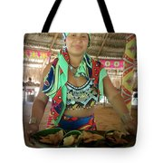 Embera Indian Lady Serving A Meal Tote Bag
