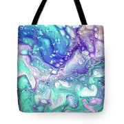 Emerald And Amethyst  Fragment 9.  Abstract Fluid Acrylic Painting Tote Bag