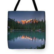Emerald Lake At Sunrise Hour Tote Bag