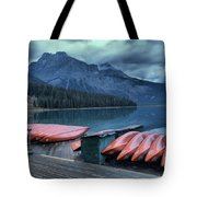 Emerald Lake Canoes Tote Bag